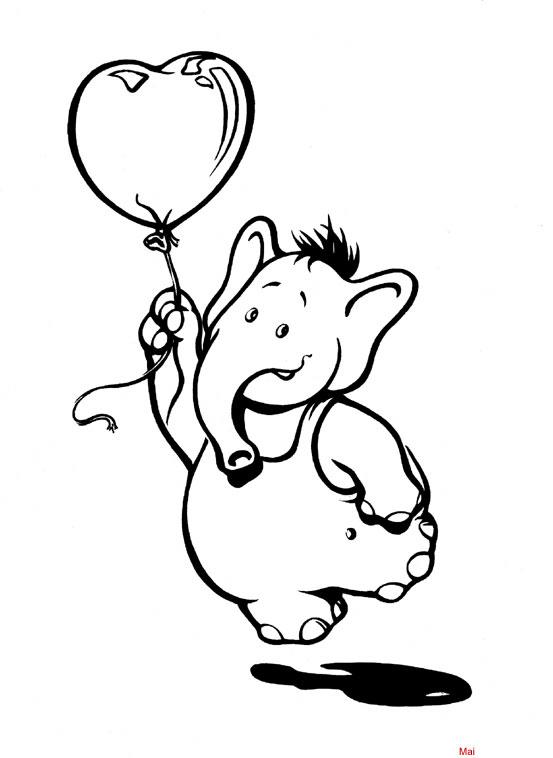 malvorlage elefant mit luftballon  zeichnen und färben